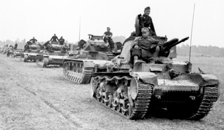German Pzkpfw 35(t) tank leading a column of tanks
